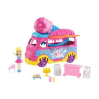 Mini Boneca - Polly Pocket - Polly com Carro de Carnaval - Carro de Sorvete - Mattel